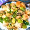 almond chicken on top of rice
