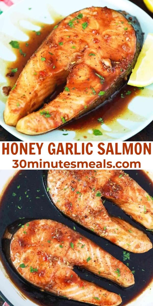 easy honey garlic salmon pin