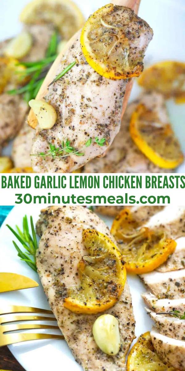 easy baked garlic lemon chicken breasts pin