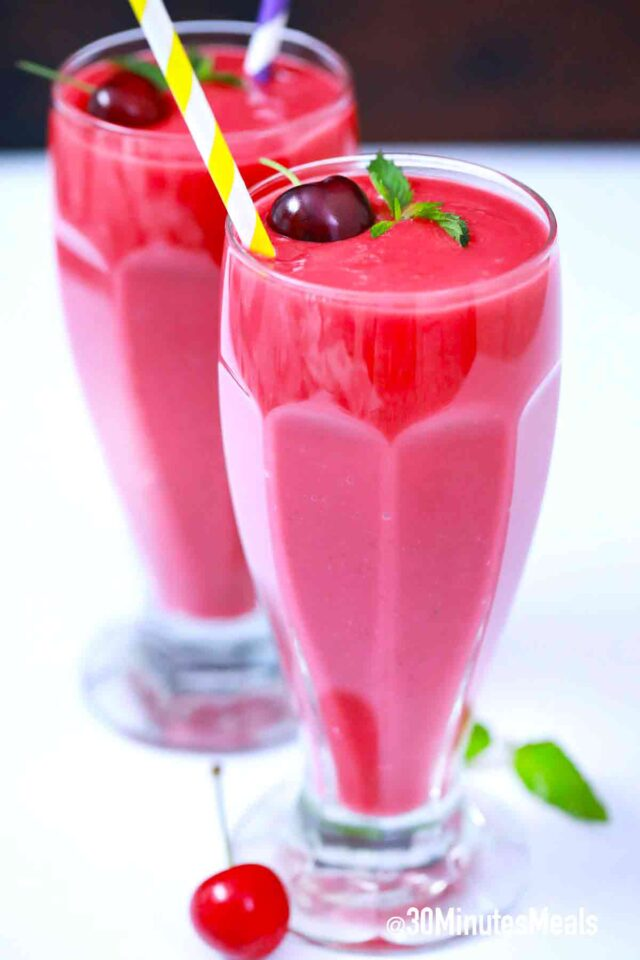 cherry smoothie in shake glasses