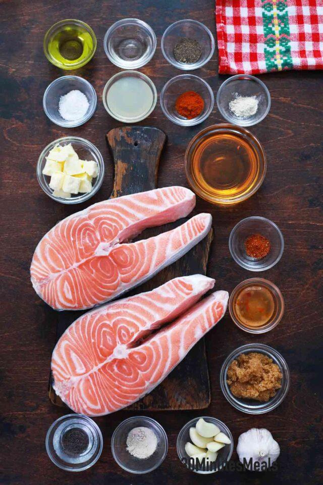 honey garlic salmon ingredients on a table