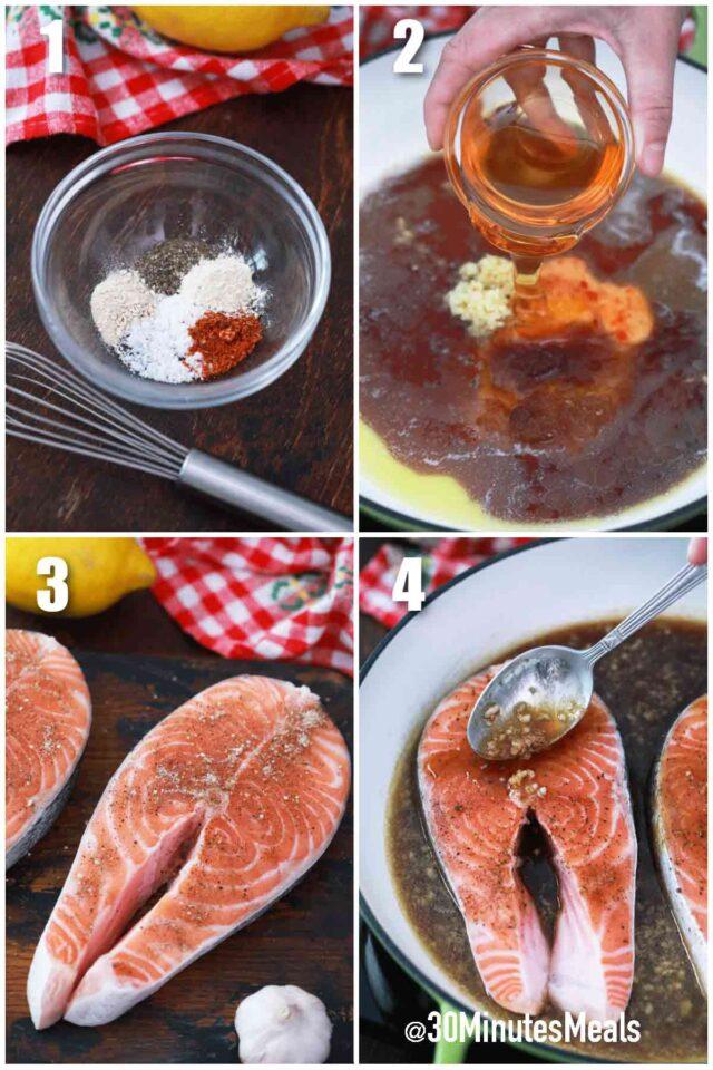 steps how to make honey garlic salmon