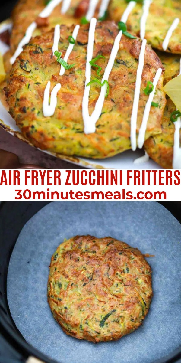 easy air fryer zucchini fritters pin